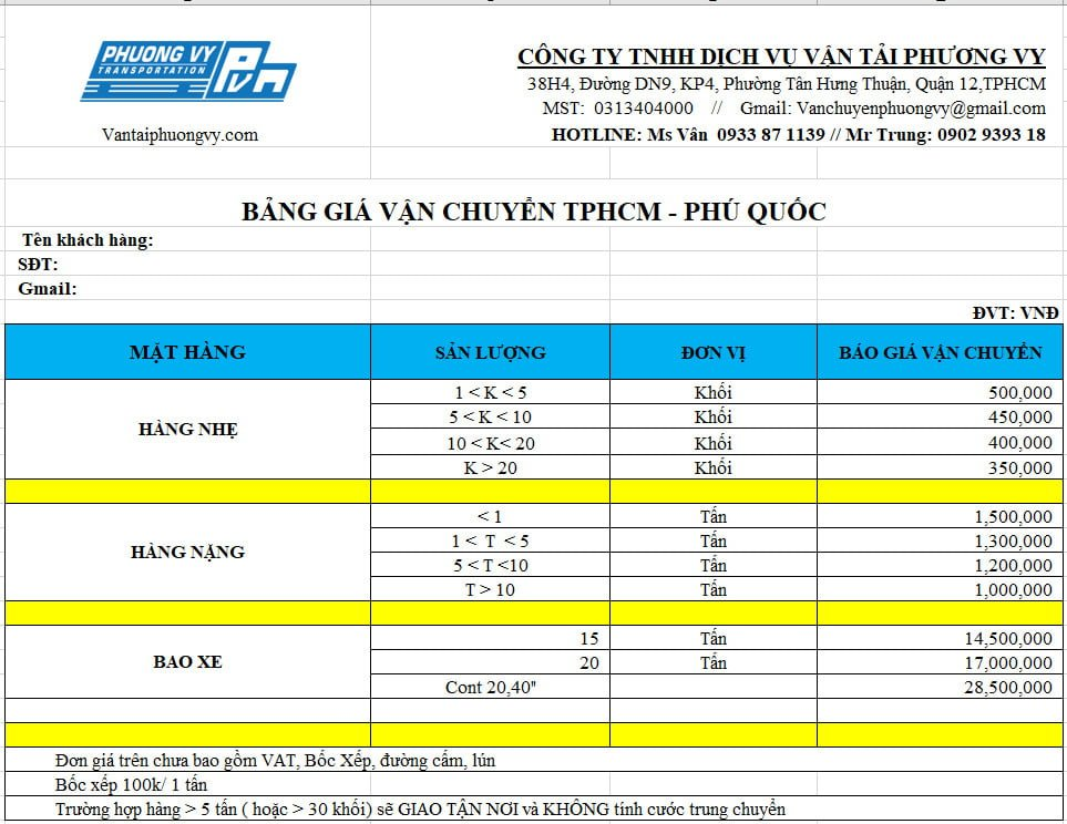 Bảng báo giá chành xe Phú Quốc